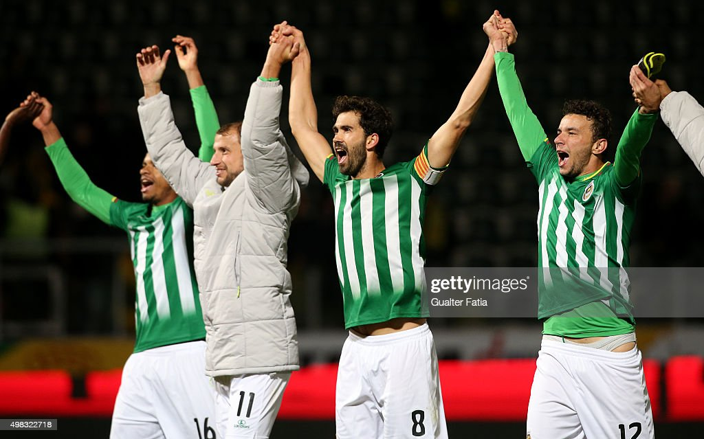Rio Ave FC's players celebrate in the end of the Taca de Portugal match between FC Pacos de Ferreira and Rio Ave FC at Estadio da Mata Real on November 22, 2015 in Pacos de Ferreira, Portugal.