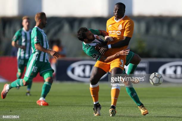 Rio Ave´s Brazilian defender Marcelo with Porto's Cameroonian forward Vincent Aboubakar during the Premier League 2017/18 match between Rio Ave FC...