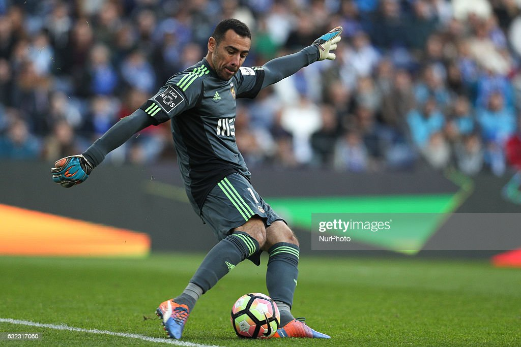 Rio Ave's Brazilian goalkeeper Cassio in action during the Premier League 2016/17 match between FC Porto and Rio Ave, at Dragao Stadium in Porto on January 21, 2017.