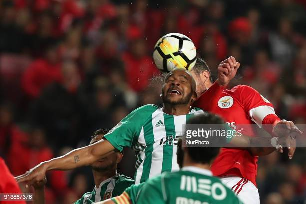 Rio Ave's defender Marcao heads the ball during the Portuguese League football match SL Benfica vs Rio Ave FC at the Luz stadium in Lisbon on...