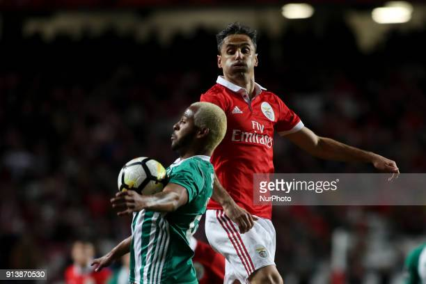 Rio Ave's defender Marcao vies with Benfica's forward Jonas during the Portuguese League football match between SL Benfica and Rio Ave FC at Luz...