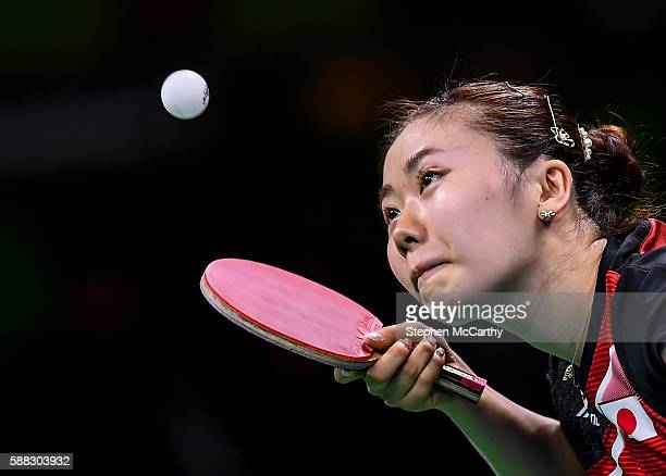 Rio Brazil 10 August 2016 Ai Fukuhara of Japan competes in the Women's Single's Bronze Medal Match between Song I Kim of the Democratic People's...