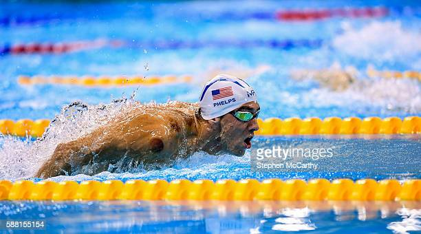 Rio , Brazil - 10 August 2016; Michael Phelps of USA competes in the heats of the Men's 200m Individual Medley at the Olympic Aquatic Stadium during...