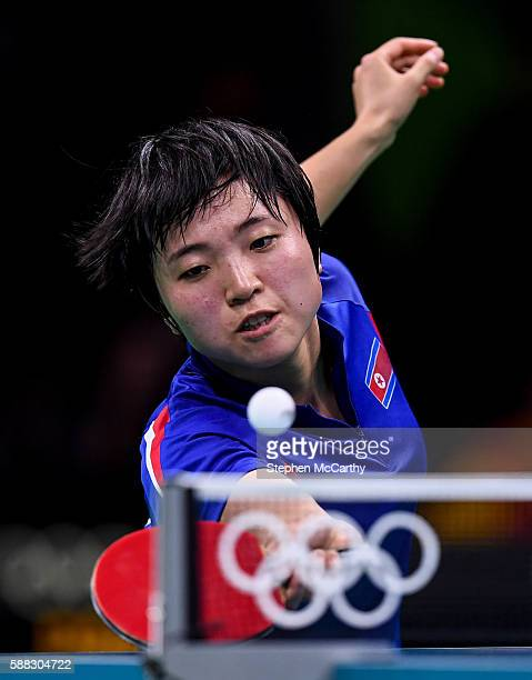 Rio Brazil 10 August 2016 Song I Kim of the Democratic People's Republic of Korea competes in the Women's Single's Bronze Medal Match between Song I...