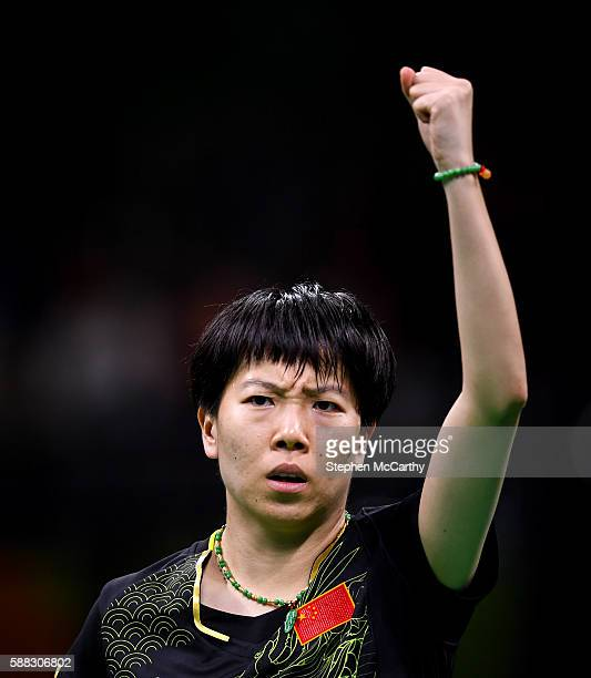 Rio Brazil 10 August 2016 Xiaoxia Li of China competes in the Women's Single's Gold Medal Match between Ning Ding of China and Xiaoxia Li of China in...