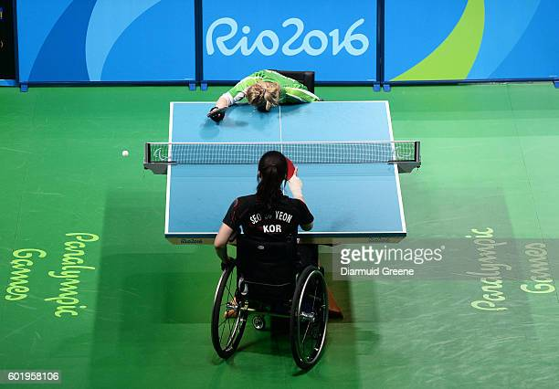Rio Brazil 10 September 2016 Rena McCarron Rooney of Ireland in reacts after conceding a point during the SF1 2 Women's Singles Quarter Final against...
