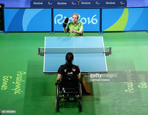 Rio Brazil 10 September 2016 Rena McCarron Rooney of Ireland serves during the SF1 2 Women's Singles Quarter Final against SuYeon Seo of Republic of...