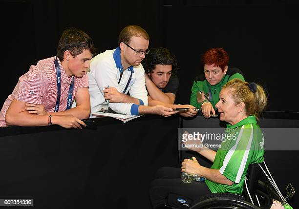 Rio Brazil 10 September 2016 Rena McCarron Rooney of Ireland speaks to reporters in the mixed zone after her SF1 2 Women's Singles Quarter Final...