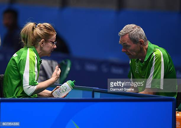 Rio Brazil 10 September 2016 Rena McCarron Rooney of Ireland with her team leader and husband Ronan Rooney during the SF1 2 Women's Singles Quarter...