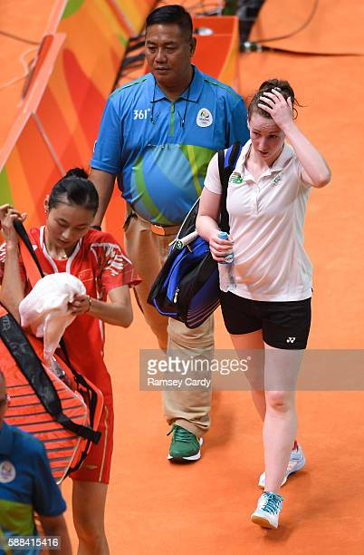 Rio Brazil 11 August 2016 Chloe Magee of Ireland following her defeat to Yihan Wang of People's Republic of China during their Women's Singles Group...