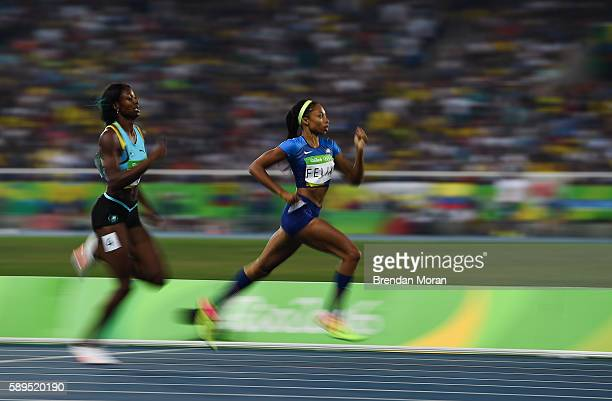 Rio Brazil 14 August 2016 Allyson Felix of USA wins the Women's 400m semifinal ahead of Shaunae Miller of Bahamas in the Olympic Stadium during the...