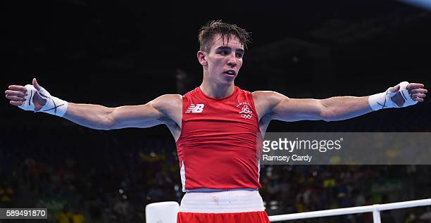 Rio Brazil 14 August 2016 Michael Conlan of Ireland celebrates defeating Aram Avagyan of Armenia following their Bantamweight preliminary round of 16...