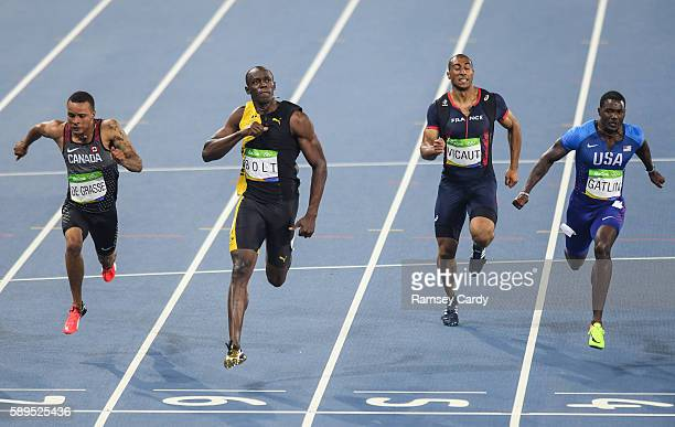 Rio Brazil 14 August 2016 Usain Bolt of Jamaica celebrates winning the Men's 100m final at the Olympic Stadium during the 2016 Rio Summer Olympic...