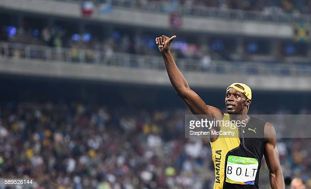 Rio Brazil 14 August 2016 Usain Bolt of Jamaica salutes the fans after winning the Men's 100m final at the Olympic Stadium during the 2016 Rio Summer...