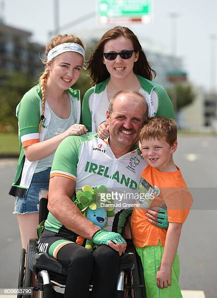 Rio Brazil 14 September 2016 Declan Slevin of Ireland along with his children Jessica aged 17 Amy aged 19 and Graham aged 5 after the Men's Time...
