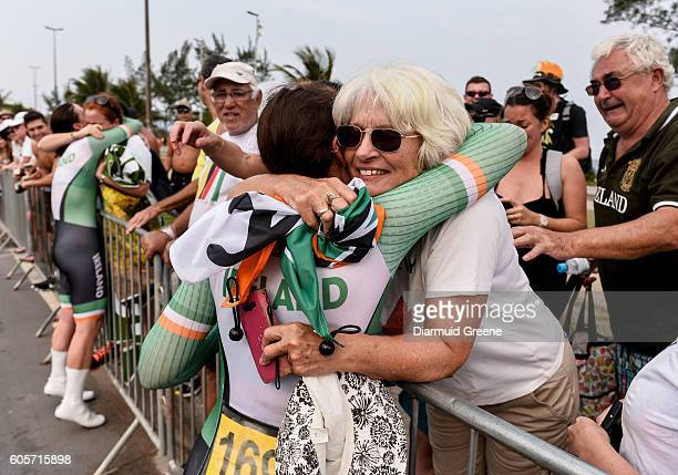 Rio , Brazil - 14 September 2016; Katie-George Dunlevy of Ireland celebrates with her mother, Alana Dunlevy, after winning the Women's B Time Trial...