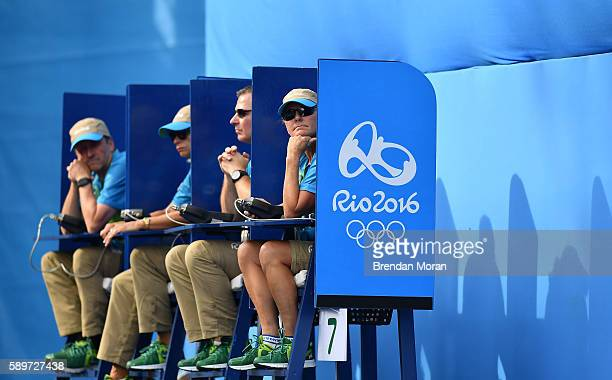 Rio Brazil 15 August 2016 Judges await the athletes ahead of the preliminary round of the Men's 3m springboard in the Maria Lenk Aquatics Centre...