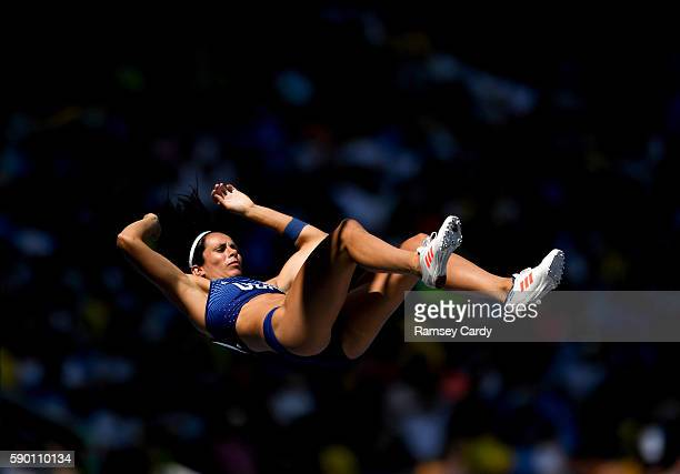 Rio Brazil 16 August 2016 Jennifer Suhr of USA in action during the Women's Pole Vault Qualifying Round at the Olympic Stadium during the 2016 Rio...
