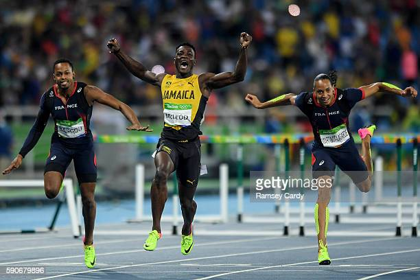 Rio Brazil 16 August 2016 Omar McLeod of Jamaica celebrates winning the Men's 110m Hurdles Final at the Olympic Stadium during the 2016 Rio Summer...