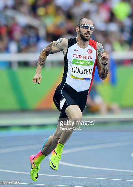 Rio Brazil 16 August 2016 Ramil Guliyev of Turkey in action during the Men's 200m Round 1 at the Olympic Stadium during the 2016 Rio Summer Olympic...