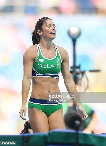 Rio Brazil 16 August 2016 Tori Pena of Ireland after failing to clear 445m in the Women's Pole Vault Qualifying Round at the Olympic Stadium during...