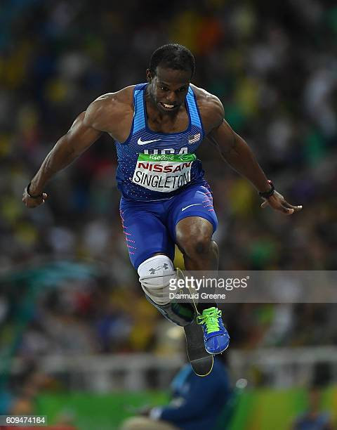 Rio Brazil 17 September 2016 Jerome Singleton of USA in action during the Men's Long Jump T44 Final at the Olympic Stadium during the Rio 2016...
