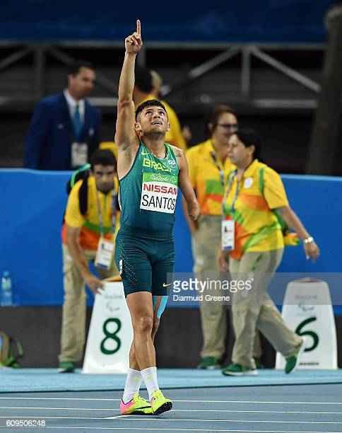 Rio Brazil 17 September 2016 Petrucio Ferreira dos Santos of Brazil reacts after taking silver in the Men's 400m T47 Final at the Olympic Stadium...
