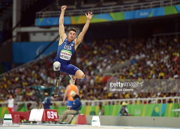 Rio Brazil 17 September 2016 Trenten Merrill of USA in action during the Men's Long Jump T44 Final at the Olympic Stadium during the Rio 2016...