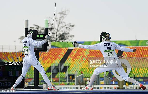 Rio Brazil 19 August 2016 Natalya Coyle of Ireland competing against Chloe Esposito of Australia during the fencing bonus round of the Women's Modern...