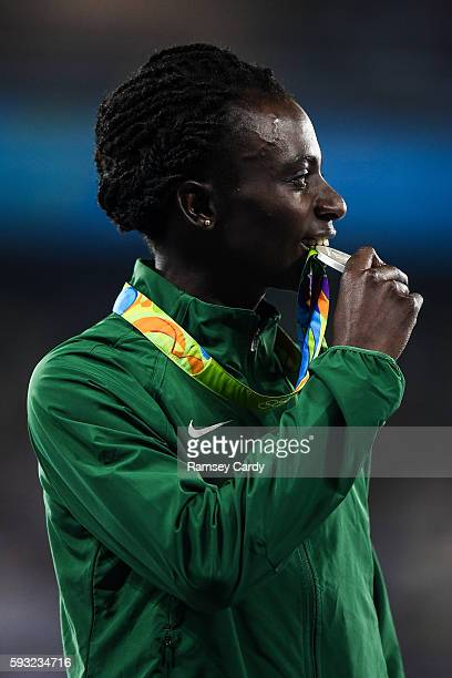 Rio Brazil 20 August 2016 Francine Niyonsaba of Burundi with her silver medal following the Women's 800m final in the Olympic Stadium during the 2016...