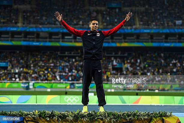 Rio , Brazil - 20 August 2016; Matthew Centrowitz of USA on the podium following his victory in the Men's 1500m final in the Olympic Stadium during...