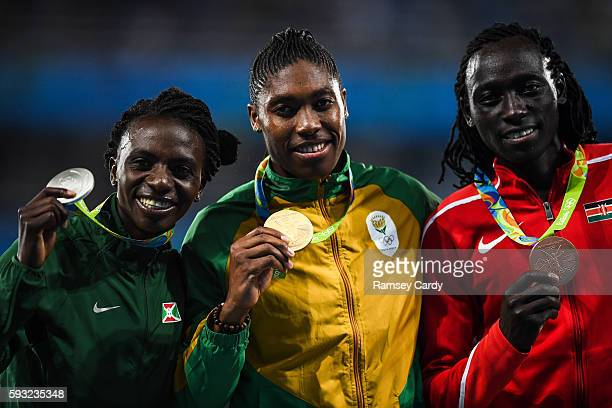 Rio Brazil 20 August 2016 On the podium following the Women's 800m final are from left Francince Niyonsaba of Burundi Caster Semenya of South Africa...