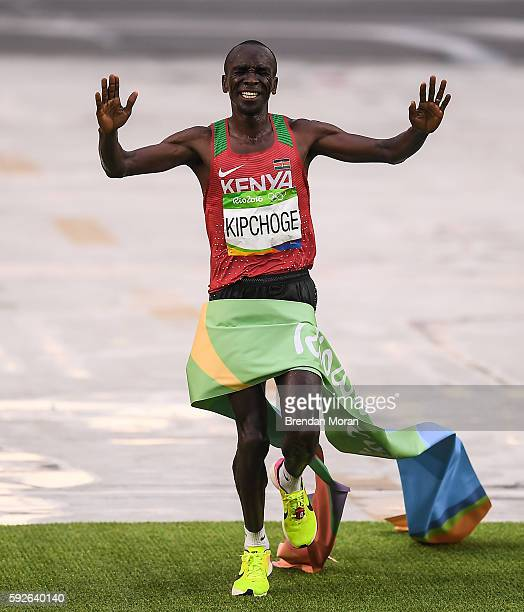 Rio Brazil 21 August 2016 Eliud Kipchoge of Kenya winning the Men's Marathon during the 2016 Rio Summer Olympic Games in Rio de Janeiro Brazil