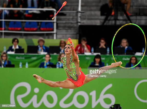 Rio Brazil 21 August 2016 The Spain team competing during the Rhythmic Gymnastics Group AllAround Final in the Rio Olympic Arena during the 2016 Rio...
