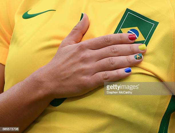 Rio Brazil 3 August 2016 A detailed view of the nails belonging to Tamires of Brazil during the national anthem at the Women's Football first round...