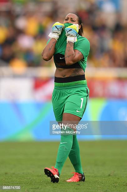 Rio Brazil 3 August 2016 Barbara of Brazil reacts to a teammates missed chance on goal during the Women's Football first round Group E match between...
