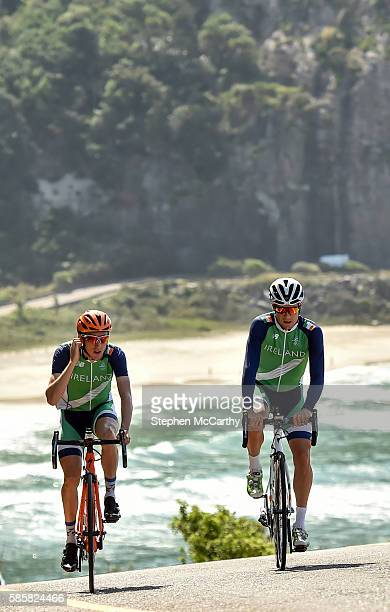 Rio Brazil 4 August 2016 Irish cyclists Dan Martin left and Nicolas Roche during a training ride ahead of the start of the 2016 Rio Summer Olympic...