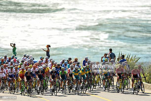 Rio Brazil 6 August 2016 A general view of the peloton during the Men's Road Race during the 2016 Rio Summer Olympic Games in Rio de Janeiro Brazil
