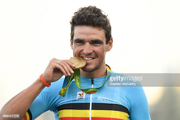 Rio , Brazil - 6 August 2016; Greg van Avermaet of Belgium with his gold medal following the Men's Road Race during the 2016 Rio Summer Olympic Games...