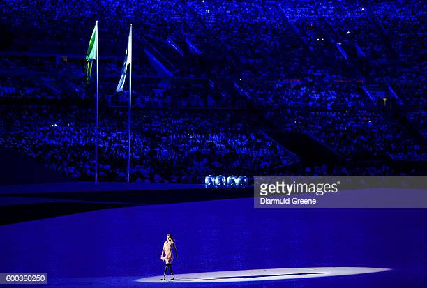 Rio Brazil 7 September 2016 Actress model worldclass snowboarder and 2014 Paralympic bronze medalist Amy Purdy after her performance with Kuka the...