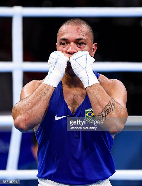 Rio Brazil 8 August 2016 Juan Nogueeira of Brazil following his Heavyweight preliminary round of 32 bout with Evgeny Tishchenko of Russia in the...
