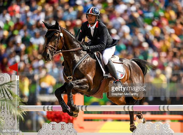 Rio Brazil 9 August 2016 Karim Laghouag of France on Entebbe in action during the Eventing Team Jumping Final at the Olympic Equestrian Centre...