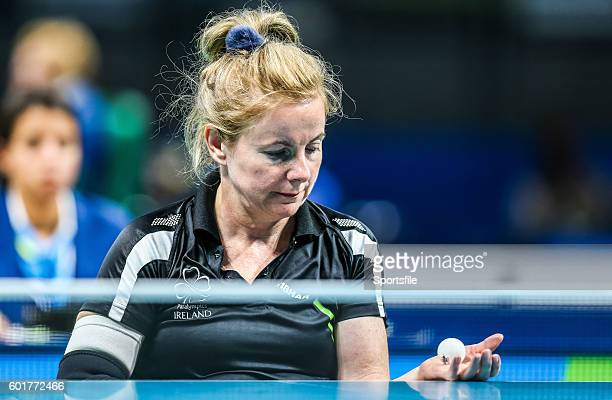 Rio Brazil 9 September 2016 Rena McCarronRooney of Ireland in action against Maha Bargouthi of Jordan during their Women's Singles Table Tennis Class...