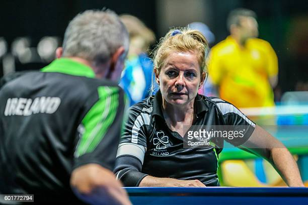 Rio Brazil 9 September 2016 Rena McCarronRooney of Ireland speaks to a coach during the Women's Singles Table Tennis Class 12 Group B Qualifier...
