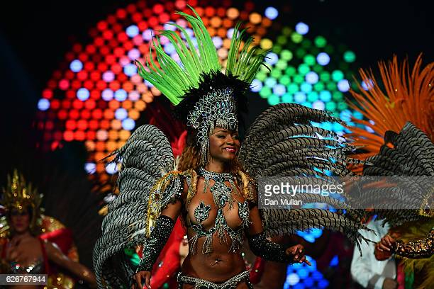 Rio Carnaval dancer performs onstage at the Team GB Ball at Battersea Evolution on November 30 2016 in London England
