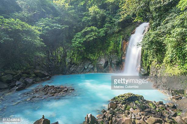 rio celeste waterfall, tenorio volcano national park, costa rica - costa rica stock pictures, royalty-free photos & images