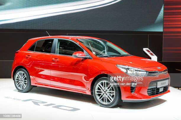 Rio compact hatchbak family car on display at Brussels Expo on January 13, 2017 in Brussels, Belgium. The Kia Rio is available as 3- and 5-door...
