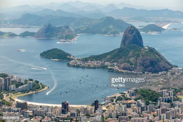 Rio de Janeiro, aerial view of SugarLoaf and Guanabara bay, Brazil