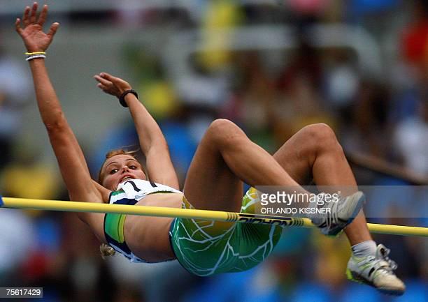 Brazilian athlete Lucimara Silva performs in the Women's Heptathlon High Jump at the XV Pan American Games Rio 2007 in Rio de Janeiro Brazil 24 July...