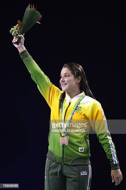 Brazilian Juliana Veloso poses with her bronze medal in Women 10mts Platform at the XV Pan American Games 2007 in Rio de Janeiro Brazil 25 July 2007...